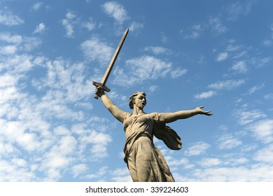"VOLGOGRAD, RUSSIA - JUNE 6, 2014: The monument ""the Motherland calls"" of the Mamaev Kurgan in Volgograd. The hero city, the place of the battle of Stalingrad."