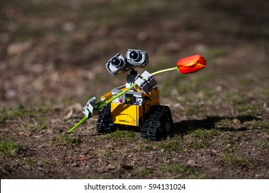 Volgograd, Russia - March 6, 2017: Lego Ideas Wall-E.   Spring days, love and first date.