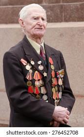 Volgograd, Russia - may 07, 2015: Portrait of a veteran speaker's speech
