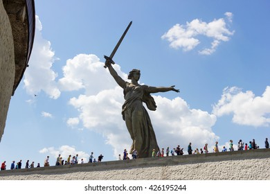 VOLGOGRAD, RUSSIA - May 09, 2016: People go to the Monument the Motherland calls! Mamayev Kurgan, Volgograd, Russia