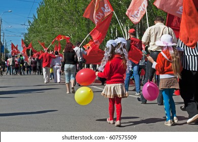 Volgograd, Russia - May 1, 2012: People take part in the May day demonstration in Volgograd