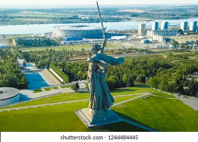 Volgograd, Russia - May 14, 2018: Statue of Motherland in Volgograd. View from the drones close. Victory Monument.