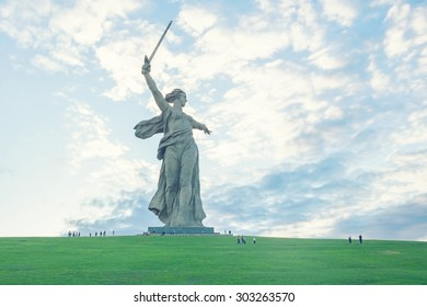 Volgograd, Russia - May 2, 2015: The Motherland Calls monument at sunset. It is a statue in Mamayev Kurgan, commemorating the Battle of Stalingrad.