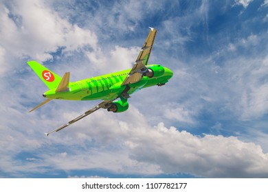 VOLGOGRAD, RUSSIA - May 29 2018: Airbus A319 of S7 Siberia Airlines taking off at Volgograd international airport. VOG, URWW.