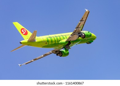 VOLGOGRAD, RUSSIA - May 29 2018: S7 Airlines. Airbus A319 taking off at Volgograd international airport