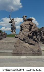 "Volgograd, Russia - May 9, 2018: Monument ""Stand To Death!"" on the Mamayev Hill. Memorial complex ""Heroes of the Battle of Stalingrad"" in Volgograd , Russia"