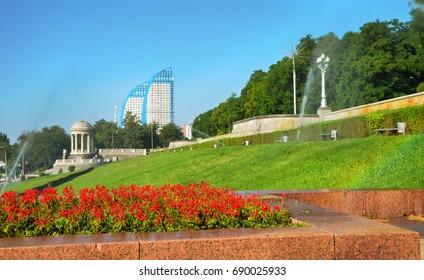 Volgograd, Russia, morning embankment, watering