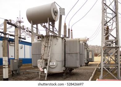 VOLGOGRAD, RUSSIA - November 29, 201: The power transformer 110 of kV of the lowering substation of 110 kV