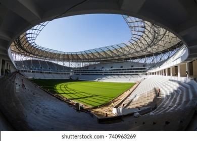 "Volgograd, Russia - October 03 2017. Fisheye view of the football stadium ""Volgograd arena"" for the FIFA World Cup 2018 in Volgograd under construction."