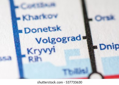 Volgograd, Russia on a geographical map.