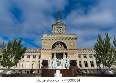 Volgograd, Russia - Sep 12, 2013: Volgograd railway station. It is a major junction of Volgograd and South region. Volgograd is the hero city, famous for the battle of Stalingrad in World War II