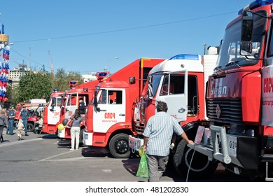 VOLGOGRAD - SEPTEMBER 10: Exhibition of special equipment of firemen and auxiliary devices for the control of fires in the open air. September 10, 2016 in Volgograd, Russia.