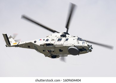 VOLKEL, THE NETHERLAND - June 14th, 2019: A NHIndustries NH90 search and rescue helicopter of the Royal Netherlands Air Force at the Luchtmachtdagen 2019 at the Volkel Air Base.