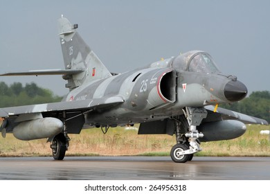 VOLKEL, NETHERLANDS - JUNE 16: French Navy Super Etendard departing from the Royal Netherlands Air Force Days June 16, 2007 in Volkel, Netherlands.
