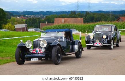 "VOLKETSWIL - AUGUST 15: The Bentley motors cars on the annual ""Oldtimer meeting"" on August 15, 2010 in Volketswil, Switzerland"
