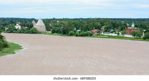 Volkhov river valley with Burial mound. Russia, Staraya Ladoga - Shutterstock ID 689588203