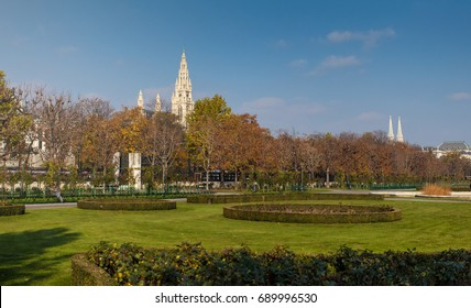 Volksgarten (park) and Vienna city hall in a sunny day
