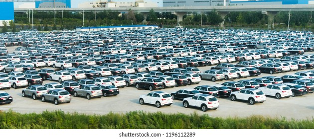 Volkswagen, China, Changchun  - AUGUST 12, 2017: New cars parked at distribution center, automobile factory.