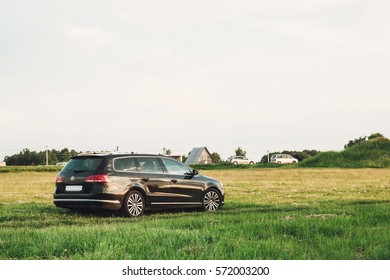 Volkswagen passat b7 station wagon in the countryside