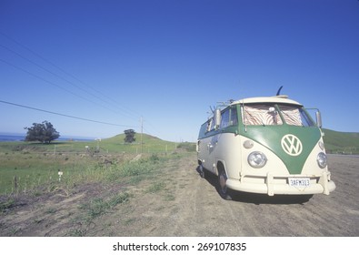 A Volkswagon van parked on the roadside, CA