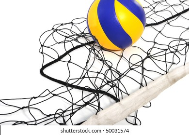 Volleyball ball and volleyball net ?n the white background