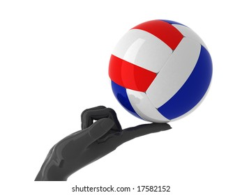 Volleyball ball on forefinger. Isolated.