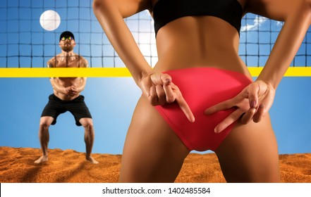 Volleyball beach player is a female volleyball player giving signals to his partner