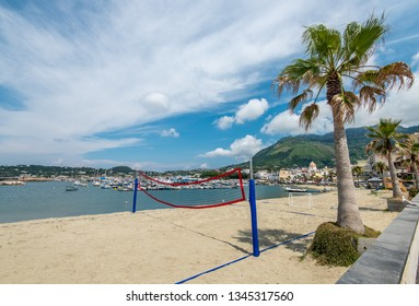 Volleyball court on the sandy beach of Forio, Ischia