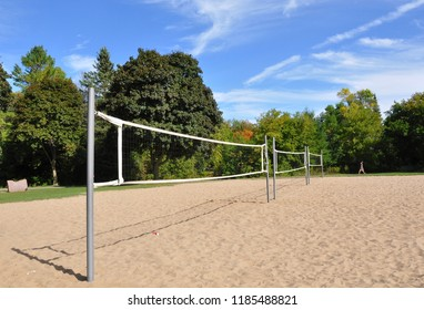 Volleyball court with white sands in a beautiful day