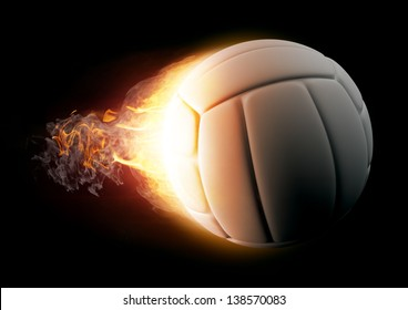 Volleyball in Fire on black background