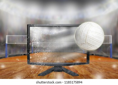 Volleyball flying out of shattering TV screen in arena with copy space. Concept of realistic 3D or 4D TV, virtual reality VR or computer gaming.