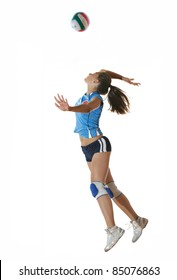 volleyball game sport with neautoful young girl oslated onver white background
