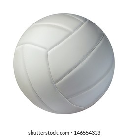 Volleyball isolated on a white background as a sports and fitness symbol of a team leisure activity playing with a leather ball serving a volley and rally in competition tournaments.