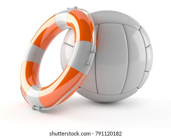 Volleyball with life buoy isolated on white background. 3d illustration