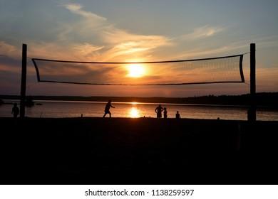 Volleyball Mesh at Krasavitsa lake, Zelenogorsk, Russia