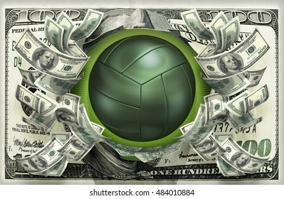 Volleyball With Money 3D Illustration
