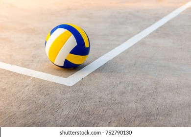 Volleyball near the white line