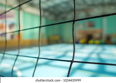 Volleyball net close-up on blurred background