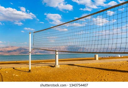 Volleyball net at the Dead sea beach, Israel