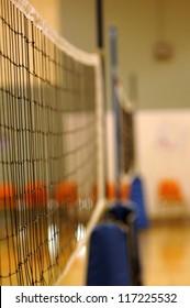 Volleyball net in gymnasium