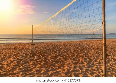 Volleyball net on the beach on summer.