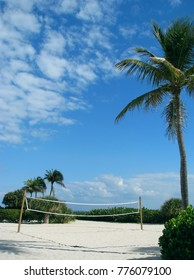 Volleyball net on sandy beach of Sanibel Florida