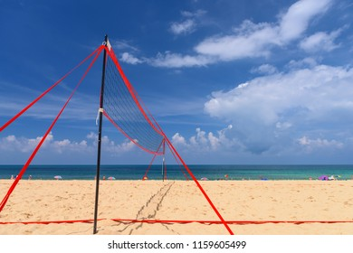 Volleyball net on the tropical beach