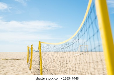 Volleyball Net Stretched on Beach