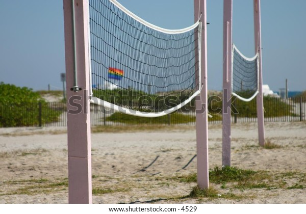 volleyball nets at the beach