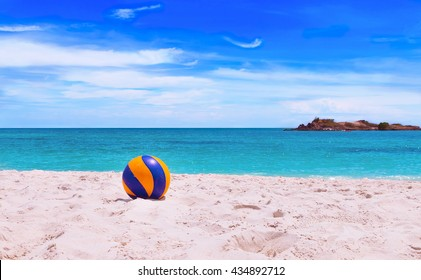 Volleyball on beach with beautiful sea background, Beach ball.