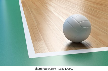 Volleyball on Wooden Court Floor Corner close up with light reflection 3D rendering with room for text or copy space