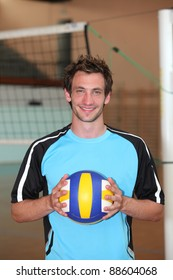 Volleyball player with ball