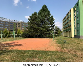Volleyball playground next to the students college in Olomouc. - Shutterstock ID 1179482641