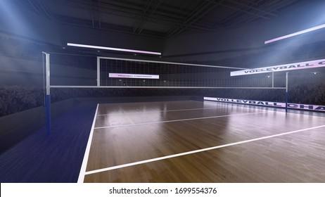 Volleyball stadium. Render 3D. Illustration.